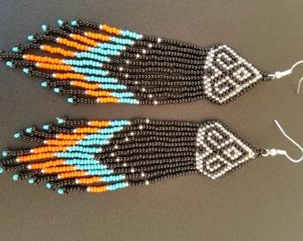 Seed Bead earrings, long seed bead earrings, Tribal earrings, bold earrings, seed bead duster earrings