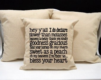 Southern Sayings Pillow, Southern Pillow, Southern Phrases, Southern Gift, Bless Your Heart, Southern decor, hey y'all, Goodness Gracious