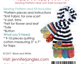 Jennifer jangles happy scrappy scarve pattern and kit, add your own scrappy cottons,