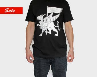 Black Graphic T-Shirt | Griffin | 100% Cotton Tee | Screen Printed