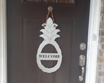 Pineapple WELCOME sign in Galvanized Steel