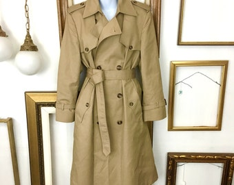 Vintage Christian Dior Tan Trench Coat - sz 6-14 - Free Ship