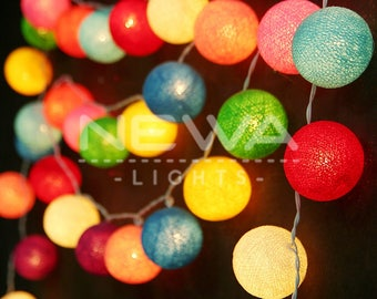 35 Clolrful Rainbow Cotton Ball Fairy Lights Indoor String Lights Christmas Lights Gifts Bedroom Nursery Patio Party Wall Hanging Home Decor