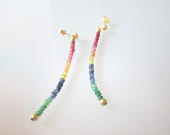 Earrings Rainbow/lange Earrings/Colorful/Boho/playful/ruby/sapphire/SMARARGD/Gold/gift for you/birthday