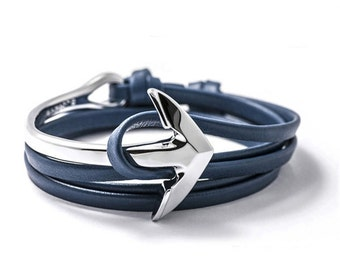 Anchor Blue Nappa Leather Strap Bracelet Silver