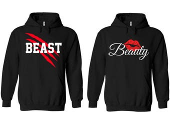 New Beast Beauty Couple Matching Premium Quality Hoodie - Price for 1 hoody -