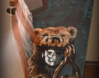 Handpainted Antique Handsaw - Medicine Man with feathers and bearskin