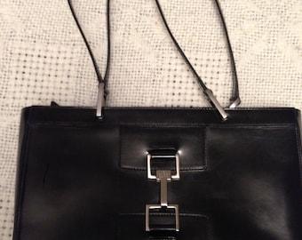 Original Gucci Bag, real black leather, cromed wire details, zip, and inside pocket