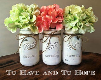 Painted Mason Jar Home Decor. ALL WHITE/IVORY. Chalk Paint. Vintage. Rustic Vase. Distressed. Wedding Centerpiece. Shower Gift.