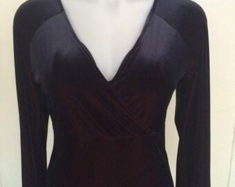 Black stretch velvet/crossed bodice/long bell sleeve top