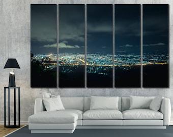 Large Night Cityscape Wall Art Canvas Print Skyline Photography Wall Decor Night Light Cityscape