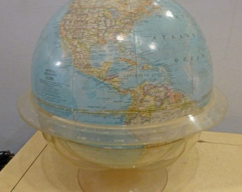 Mid Century Modern National Geographic Globe 1962 Clear Plastic Base and Liner