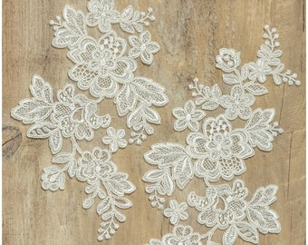 2pc. mirrored, corded lace flower applique - IVORY/ off-white - Lace flower, lace patch, bridal dress appliqué -CLA52000