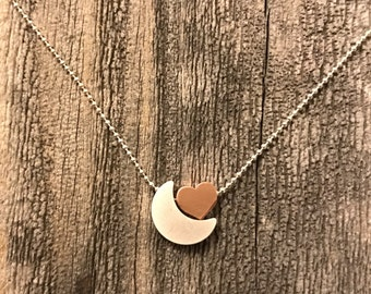 I love you to the moon and back necklace moon necklace heart necklace matte silver moon mattr rose heart gift for her