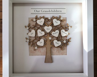 Personalised 3D Family Tree Box Frame Gift