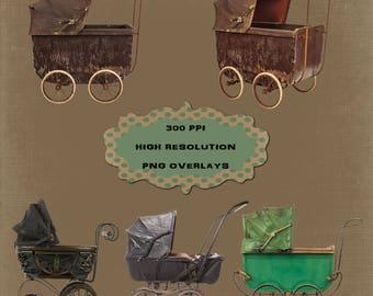 Old Vintage Pram Overlays, High Resolution, Separate PNG Files, Instant Download.