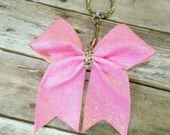 Solid Glitter Cheer Bow Keychains
