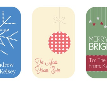 Personalized Christmas Tags, Christmas To and From Tags