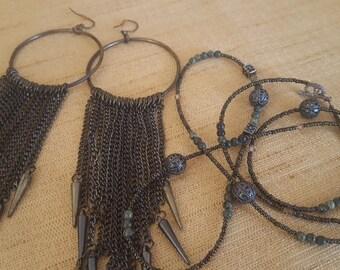 ON SALE, Jewelry Set, Hardware Jewelry, Industrial Jewelry, Steampunk Jewelry, Repurposed Earrings, Metal Earrings, Hardware Earrings, Goth