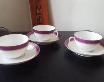ON SALE, Antique Teacup, Vintage Teacup, French Porcelain, Purple Teacup, CFHGDM France, Teacup and Saucer, European Porcelain, Vintage Cups