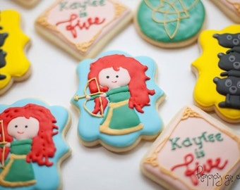 Brave inspired sugar cookies favor (one dozen) // Merida // Birthday Favor // Birthday Treat