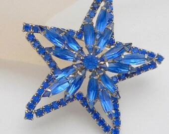 Vintage Blue Navette Rhinestone Layered Star Brooch/Pin