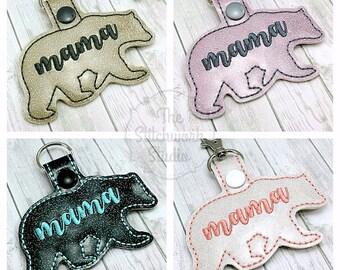 Ready To Ship! Mama Bear Keychain - Key Fob - Glitter