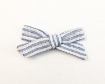 Blue Striped Bow - Hand Tied Bow - Baby Bows - Baby Hair Clips - Baby Headbands - Toddler Headband - Baby Hair Bows - Hair Bows