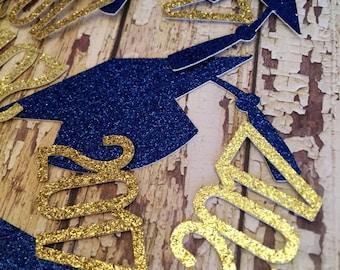 2017 Graduation Confetti - Blue Grad Hats -2017 Gold