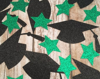 Green Star Graduation Confetti - Black graduation Caps -  Graduation Party Decorations