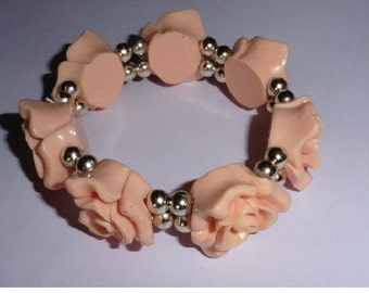 Camelia Flower Bracelet. Peach colour.