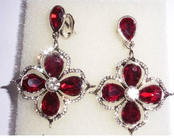 Lovely Dropper Dangly Earrings Ruby Red Stones and Rhinestones Clip On
