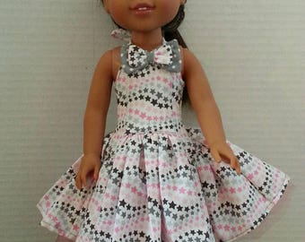 Halter Style Dress for 14.5inch DOLLS such as welliwle wishers. HandMade