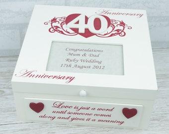 Personalised 40th Anniversary Large Memory Keepsake Box Ruby Wedding Gift F1741B/P
