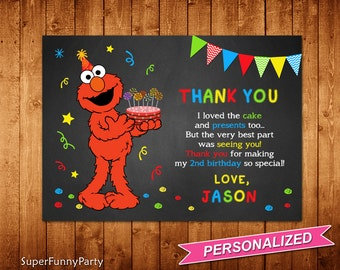 Elmo Thank You Card, Sesame Street Thank You Card, Elmo Thanks Card, Elmo Printable, Personalized, Digital File
