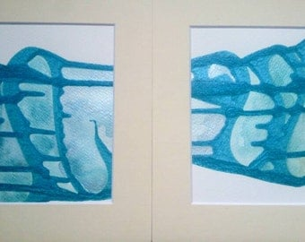 Abstract Painting Set of 2 Original Art Mounted Blue Green Watercolour Metallic Wall Painting Gift Set / LittleArtLondon