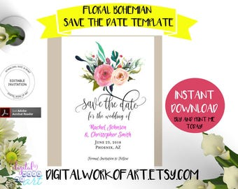 Save the Date Invitation Template, DIY Floral Bohemian Wedding, Save the Date Printable,  Save Our Date,  Editable PDF instant download,boho