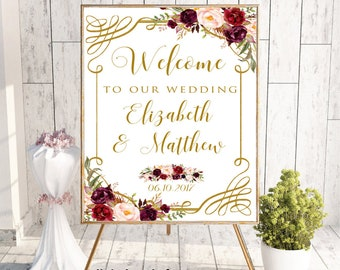 Welcome To Our Wedding, Welcome Wedding Sign, Printable Welcome Sign,Welcome Sign,Custom Welcome Sign,Floral, Boho Chic Wedding, Digital,#LC