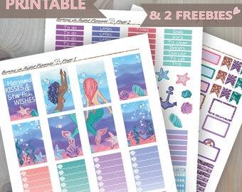 Mermaid Planner Stickers,Printable Stickers,Happy Planner,Mambi,Weekly Sticker Kit,Mermaid,Ocean,Planner Printables,Mermaid Printable,DIY