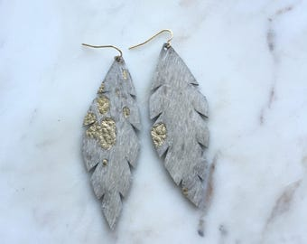 Hair-On Gold Speckle Leather Leaf Earrings Large