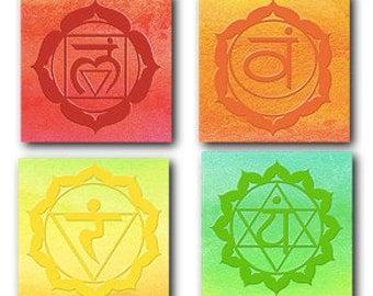 Complete set of 7 Yoga Chakra meditation symbols downloadable art set of 7 plus Bonus 5 Yamas Poster