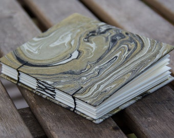 Black Marble Lokta Paper Mini Hardcover Journal – Coptic Cross Stitched Notebook – Hardbound Book – Handmade Sketchbook – Gift