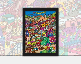 All the fun of the fair vector art Poster - Vintage, Pop Art, Print, Framed in Black A4 or A3