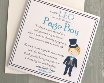 Page Boy Card, Thank You To Our Page Boy, Page Boy Son, Page Boy Nephew,Page Boy Gift, Personlaised Card