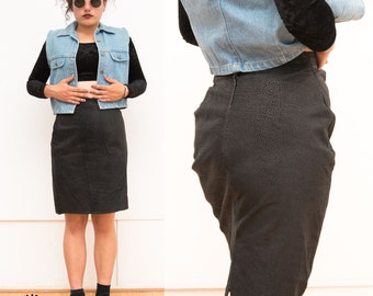 Vintage 1980s Black Leather High-waist Skirt