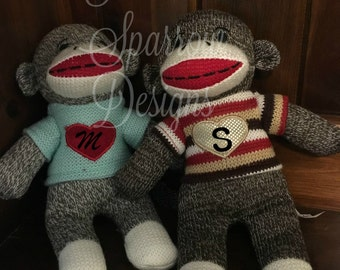 Sock Monkey personalized, plush, stuffed animal, gift
