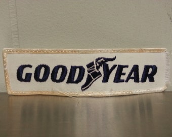 Vintage 80's Good Year Tires White Rectangle Patch Craft Hat Frayed End Auto Mechanic