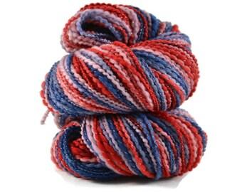 Organic Polworth Yarn, Handspun Yarn, Handspun Polworth yarn, Organic Polworth Nylon, 2 ply Bulky weight, 240 yards, red, blue - July