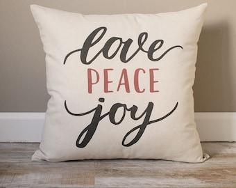 Love Peace Joy Pillow | Christmas Pillow | Holiday Pillow | Christmas Gift | Rustic Home Decor | Holiday Decor | Christmas Decor