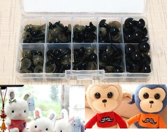 100 Pcs 6-12mm Black Plastic Safety Eyes For Teddy Bear Animal Doll Eyes Decoration (US ONLY)